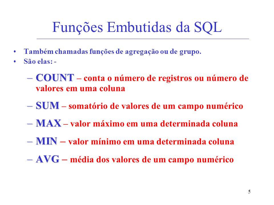 5 Funções Embutidas da SQL Também chamadas funções de agregação ou de grupo. São elas: - –COUNT –COUNT – conta o número de registros ou número de valo