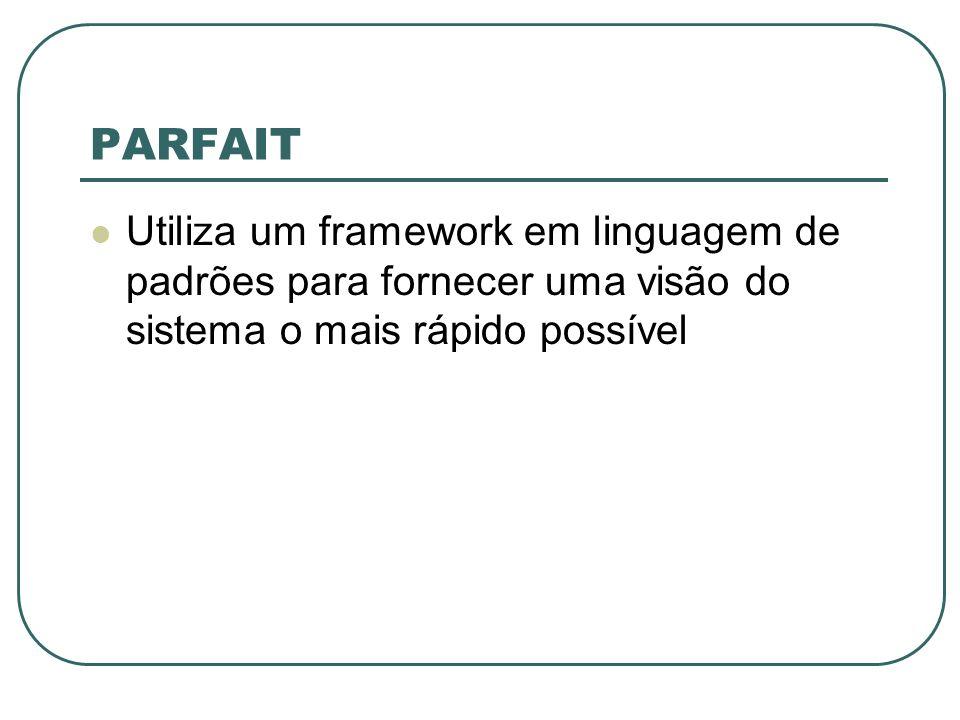 PARFAIT Utiliza um framework em linguagem de padrões para fornecer uma visão do sistema o mais rápido possível