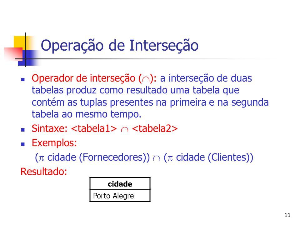 11 Operação de Interseção Operador de interseção ( ): a interseção de duas tabelas produz como resultado uma tabela que contém as tuplas presentes na