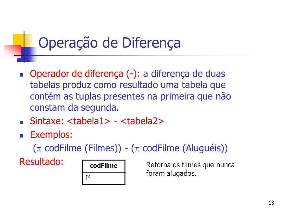 13 Operação de Diferença Operador de diferença (-): a diferença de duas tabelas produz como resultado uma tabela que contém as tuplas presentes na pri