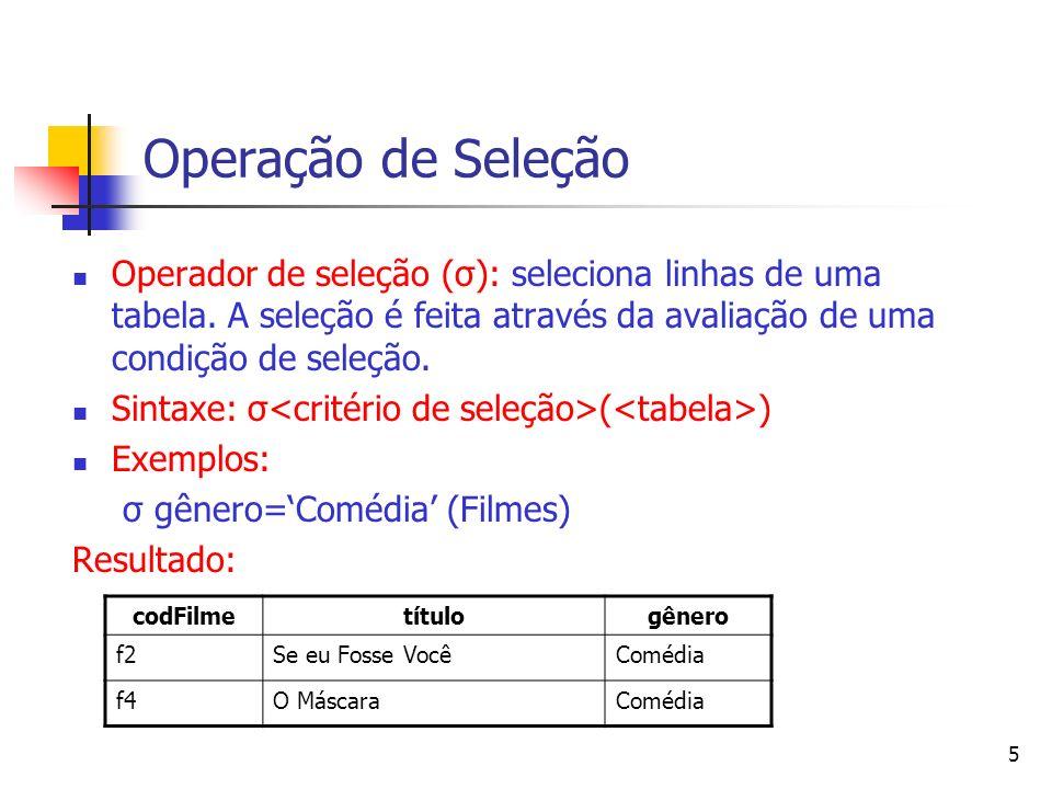 6 Operação de Seleção Exemplos: σ (idade>30 and cidade =Porto Alegre) (Clientes) Resultado: codClinomeidadecidadecodPaiCli c1João31Porto Alegrec2 c4Sílvio43Porto Alegre