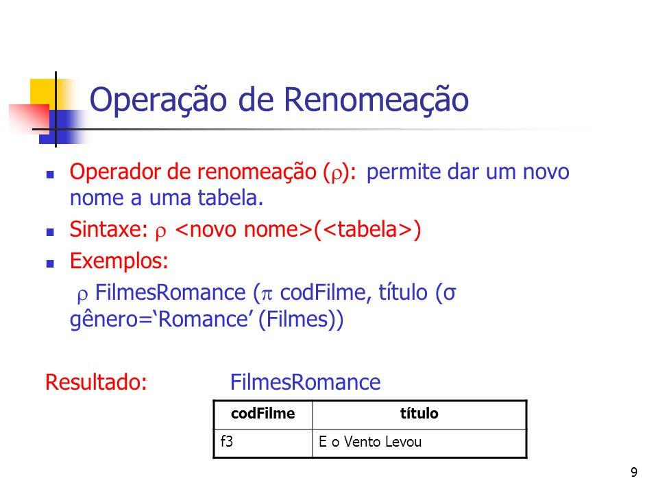 9 Operação de Renomeação Operador de renomeação ( ): permite dar um novo nome a uma tabela. Sintaxe: ( ) Exemplos: FilmesRomance ( codFilme, título (σ