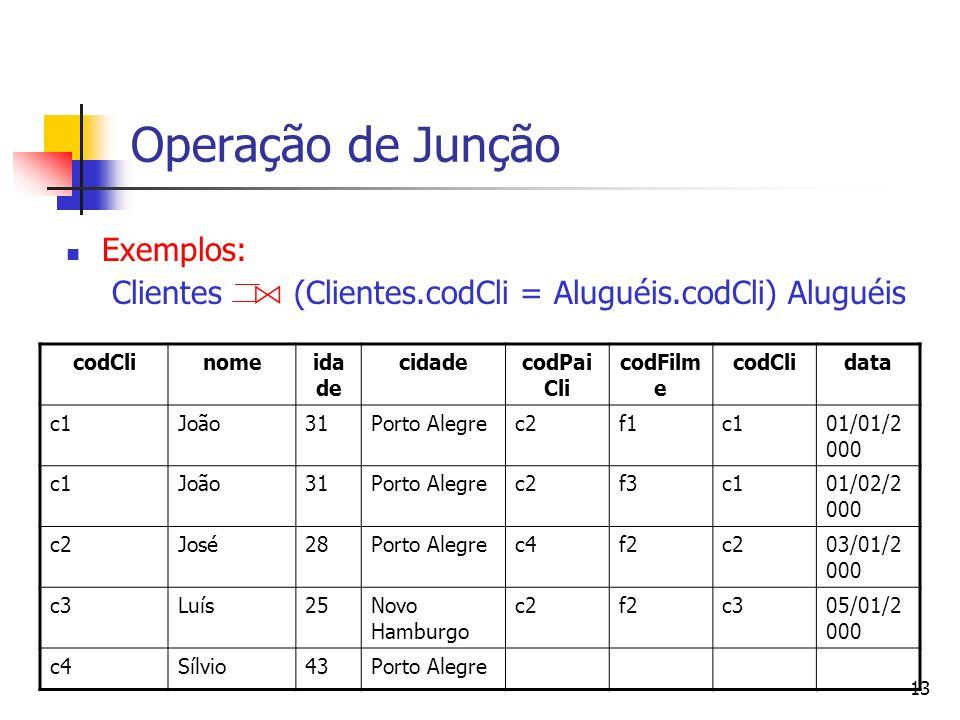 13 Operação de Junção Exemplos: Clientes (Clientes.codCli = Aluguéis.codCli) Aluguéis codClinomeida de cidadecodPai Cli codFilm e codClidata c1João31P