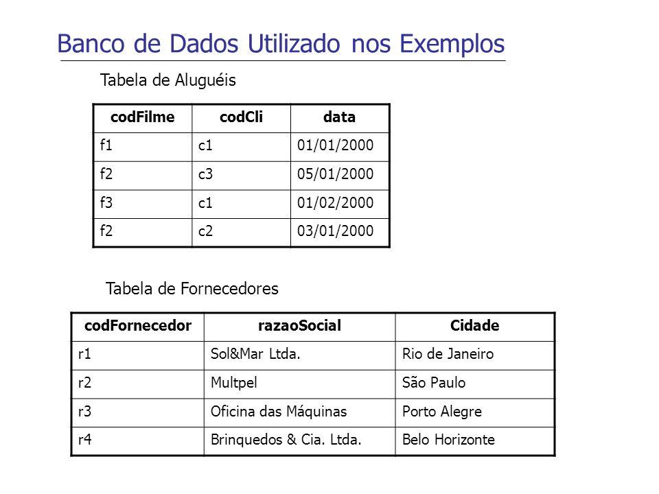 Banco de Dados Utilizado nos Exemplos codFilmecodClidata f1c101/01/2000 f2c305/01/2000 f3c101/02/2000 f2c203/01/2000 Tabela de Aluguéis codFornecedorr