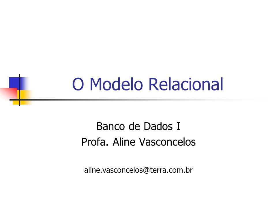 O Modelo Relacional Banco de Dados I Profa. Aline Vasconcelos aline.vasconcelos@terra.com.br