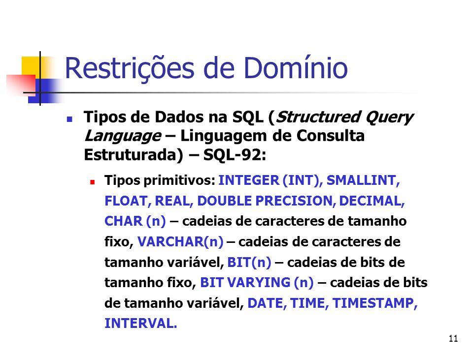 11 Restrições de Domínio Tipos de Dados na SQL (Structured Query Language – Linguagem de Consulta Estruturada) – SQL-92: Tipos primitivos: INTEGER (IN