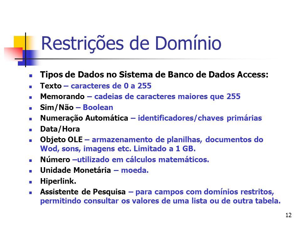 12 Restrições de Domínio Tipos de Dados no Sistema de Banco de Dados Access: Texto – caracteres de 0 a 255 Memorando – cadeias de caracteres maiores q