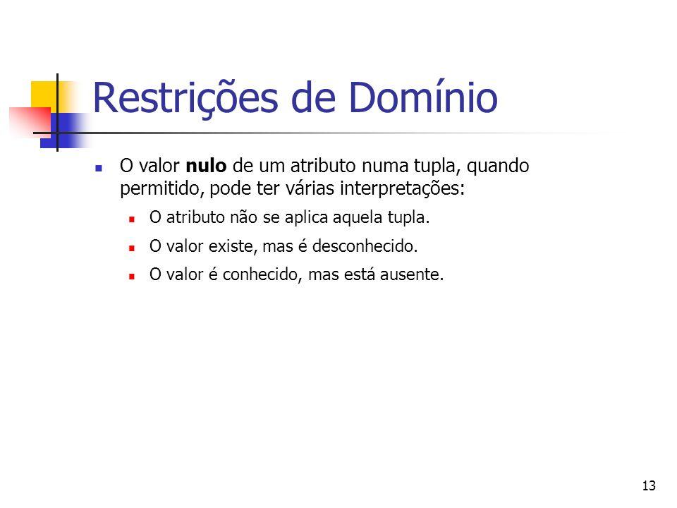 13 Restrições de Domínio O valor nulo de um atributo numa tupla, quando permitido, pode ter várias interpretações: O atributo não se aplica aquela tup