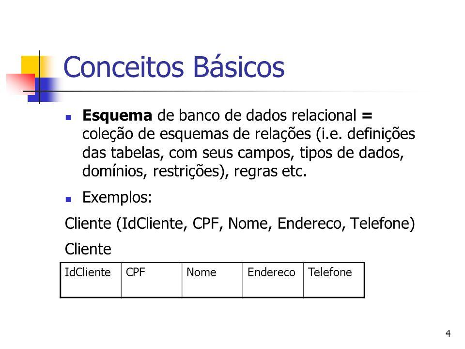 4 Conceitos Básicos Esquema de banco de dados relacional = coleção de esquemas de relações (i.e. definições das tabelas, com seus campos, tipos de dad