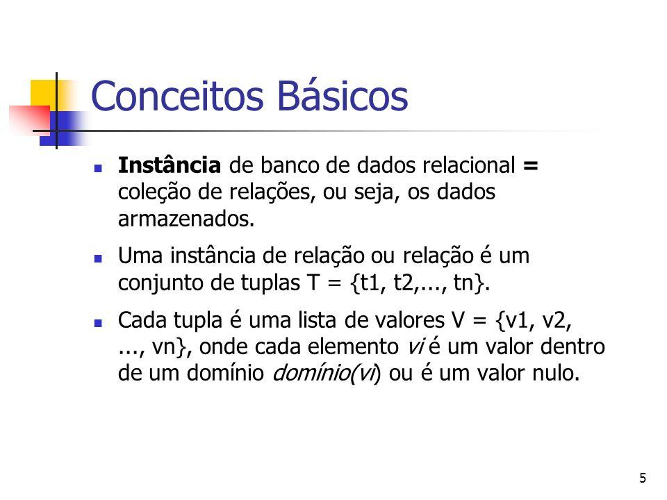 5 Conceitos Básicos Instância de banco de dados relacional = coleção de relações, ou seja, os dados armazenados. Uma instância de relação ou relação é
