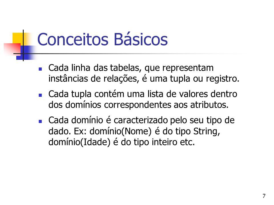 7 Conceitos Básicos Cada linha das tabelas, que representam instâncias de relações, é uma tupla ou registro. Cada tupla contém uma lista de valores de