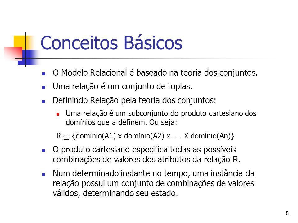 8 Conceitos Básicos O Modelo Relacional é baseado na teoria dos conjuntos. Uma relação é um conjunto de tuplas. Definindo Relação pela teoria dos conj