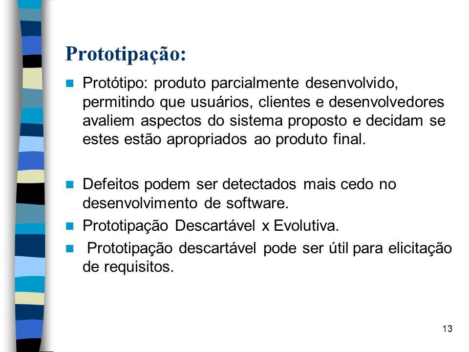 13 Prototipação: Protótipo: produto parcialmente desenvolvido, permitindo que usuários, clientes e desenvolvedores avaliem aspectos do sistema propost