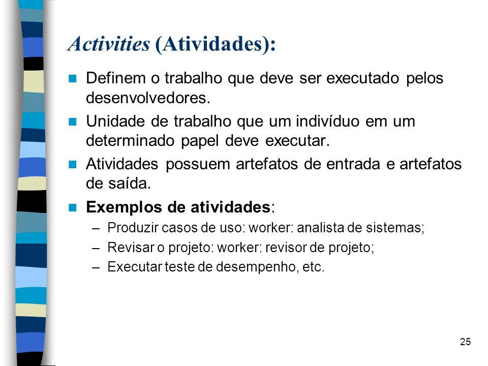 25 Activities (Atividades): Definem o trabalho que deve ser executado pelos desenvolvedores. Unidade de trabalho que um indivíduo em um determinado pa