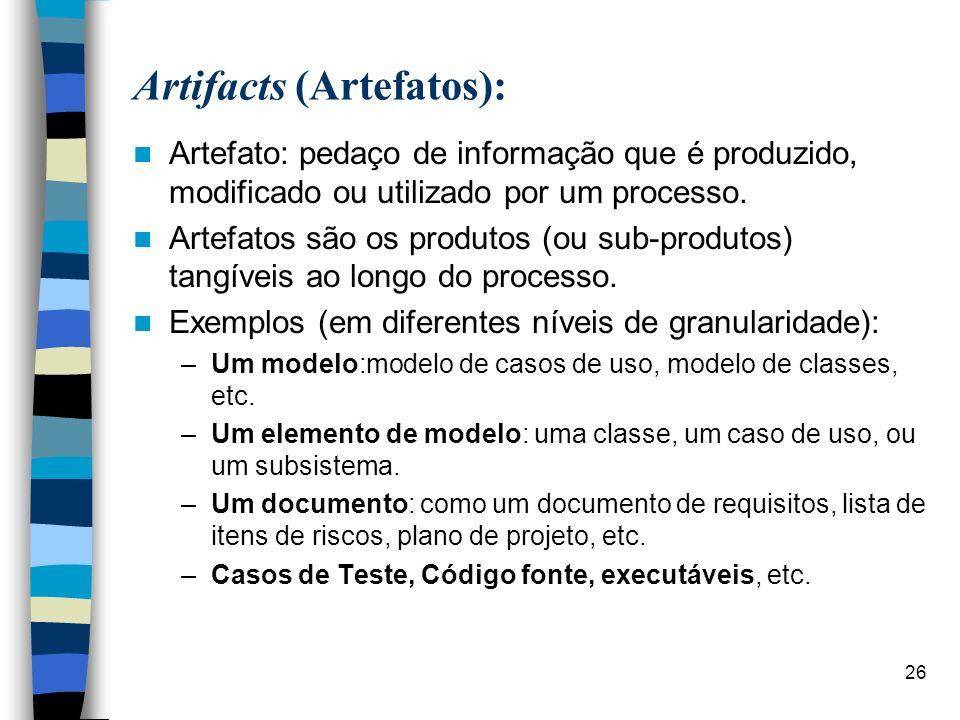 26 Artifacts (Artefatos): Artefato: pedaço de informação que é produzido, modificado ou utilizado por um processo. Artefatos são os produtos (ou sub-p