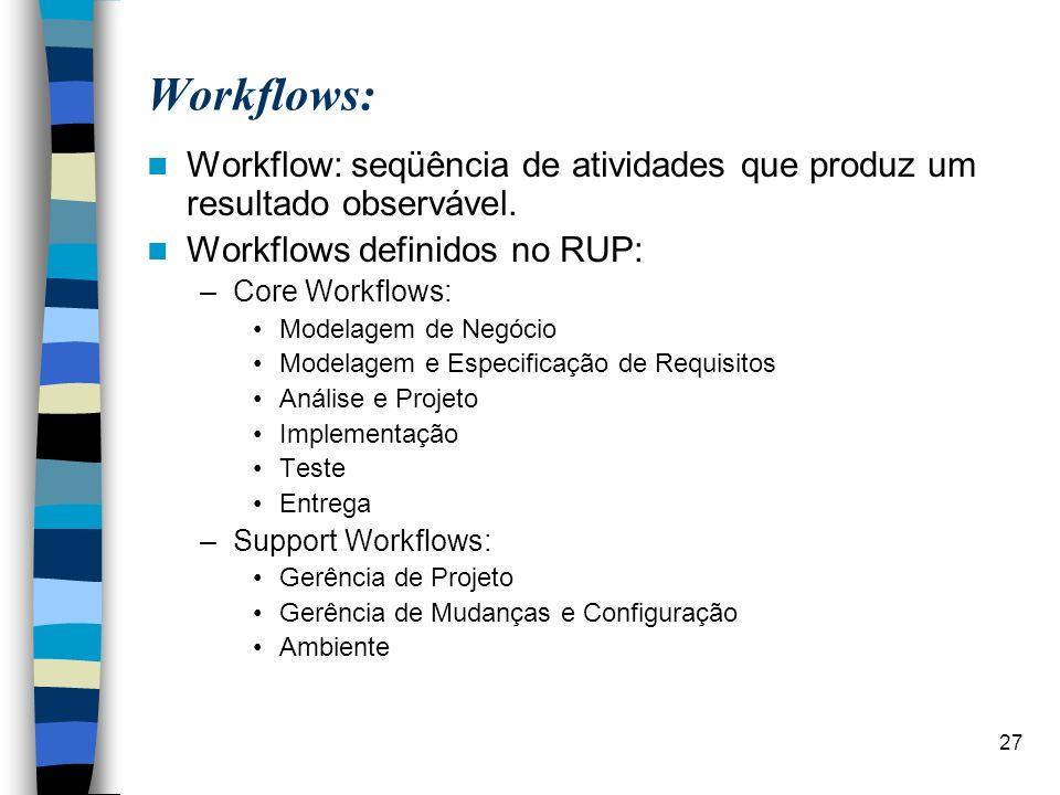 27 Workflows: Workflow: seqüência de atividades que produz um resultado observável. Workflows definidos no RUP: –Core Workflows: Modelagem de Negócio