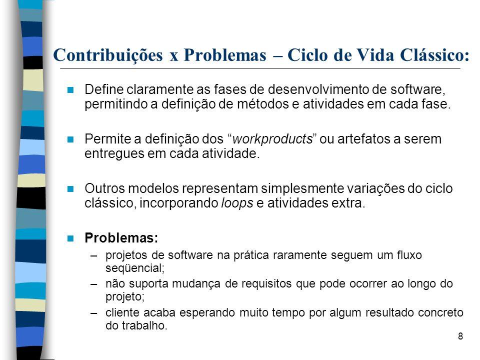 8 Contribuições x Problemas – Ciclo de Vida Clássico: Define claramente as fases de desenvolvimento de software, permitindo a definição de métodos e a