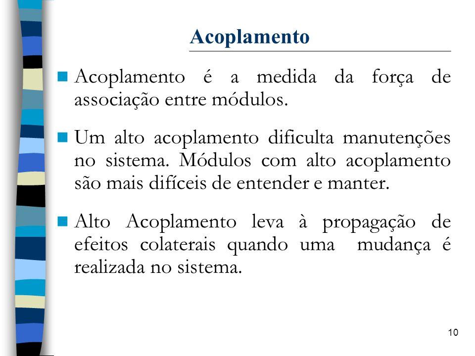 10 Acoplamento Acoplamento é a medida da força de associação entre módulos. Um alto acoplamento dificulta manutenções no sistema. Módulos com alto aco