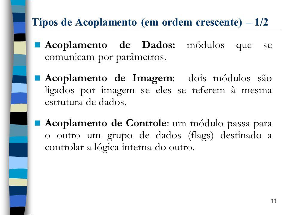 11 Tipos de Acoplamento (em ordem crescente) – 1/2 Acoplamento de Dados: módulos que se comunicam por parâmetros. Acoplamento de Imagem: dois módulos