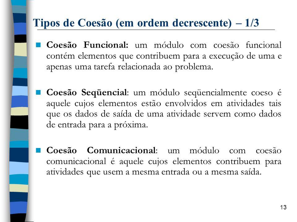 13 Tipos de Coesão (em ordem decrescente) – 1/3 Coesão Funcional: um módulo com coesão funcional contém elementos que contribuem para a execução de um