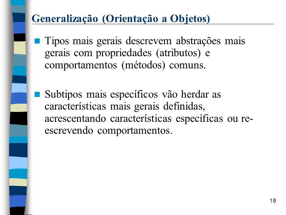 19 Generalização (Orientação a Objetos) Tipos mais gerais descrevem abstrações mais gerais com propriedades (atributos) e comportamentos (métodos) com