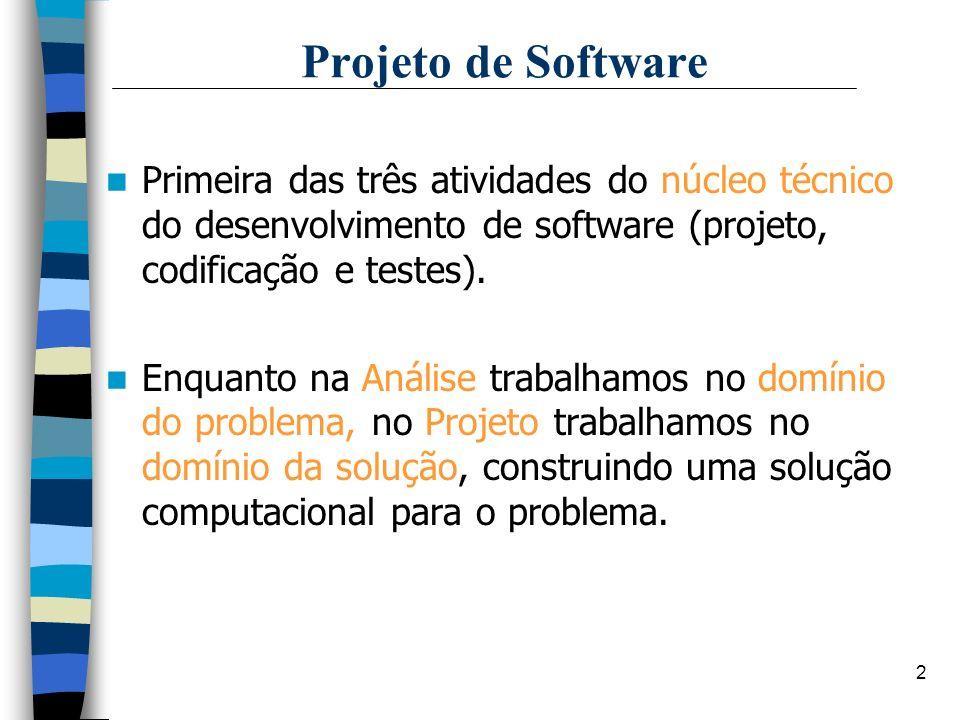 2 Projeto de Software Primeira das três atividades do núcleo técnico do desenvolvimento de software (projeto, codificação e testes). Enquanto na Análi