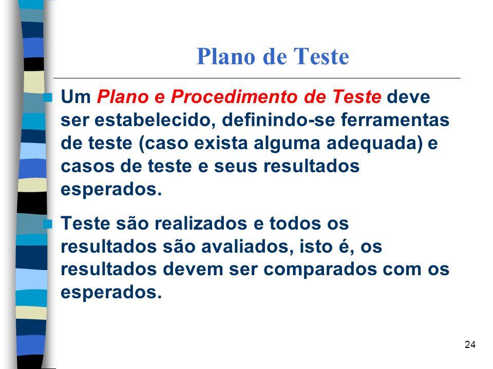 24 Plano de Teste Um Plano e Procedimento de Teste deve ser estabelecido, definindo-se ferramentas de teste (caso exista alguma adequada) e casos de t