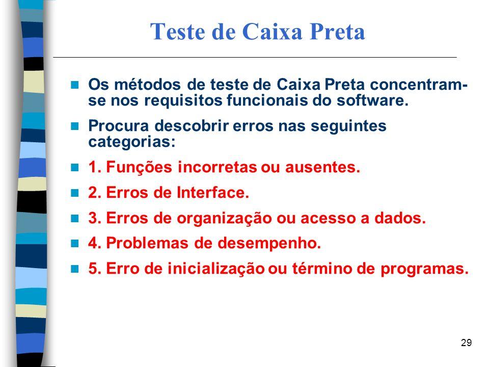 29 Teste de Caixa Preta Os métodos de teste de Caixa Preta concentram- se nos requisitos funcionais do software. Procura descobrir erros nas seguintes