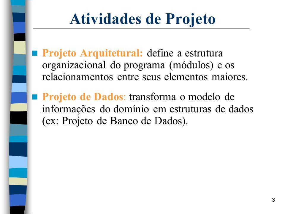 3 Atividades de Projeto Projeto Arquitetural: define a estrutura organizacional do programa (módulos) e os relacionamentos entre seus elementos maiore
