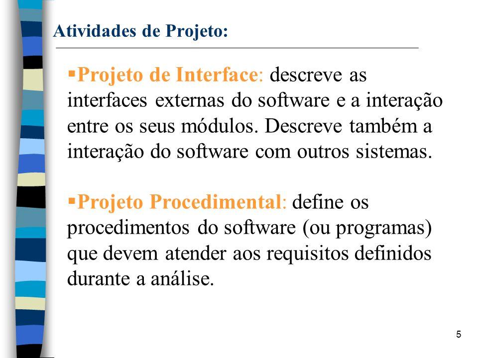 5 Atividades de Projeto: Projeto de Interface: descreve as interfaces externas do software e a interação entre os seus módulos. Descreve também a inte