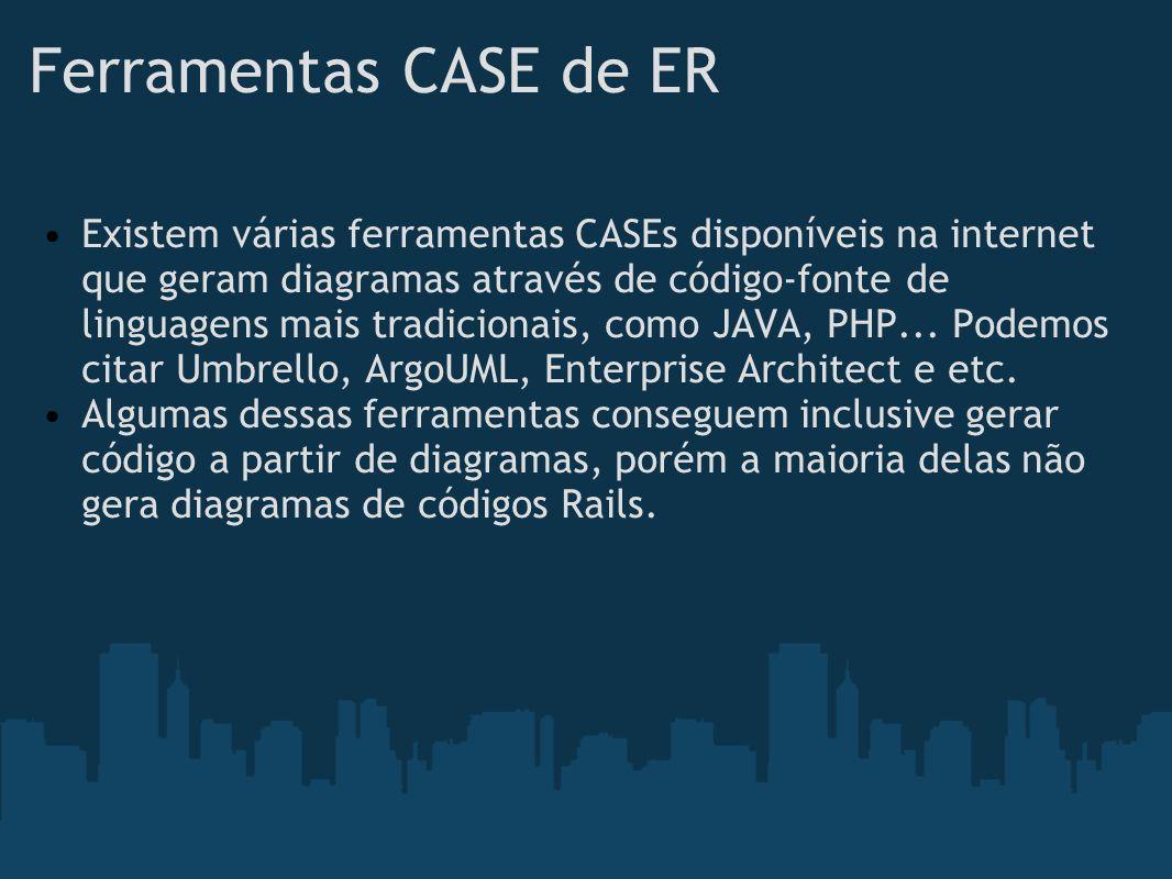Ferramentas CASE de ER Existem várias ferramentas CASEs disponíveis na internet que geram diagramas através de código-fonte de linguagens mais tradici