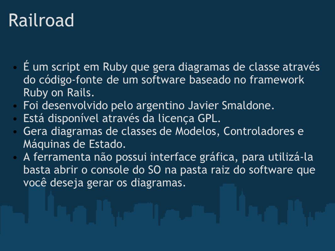 Railroad É um script em Ruby que gera diagramas de classe através do código-fonte de um software baseado no framework Ruby on Rails. Foi desenvolvido