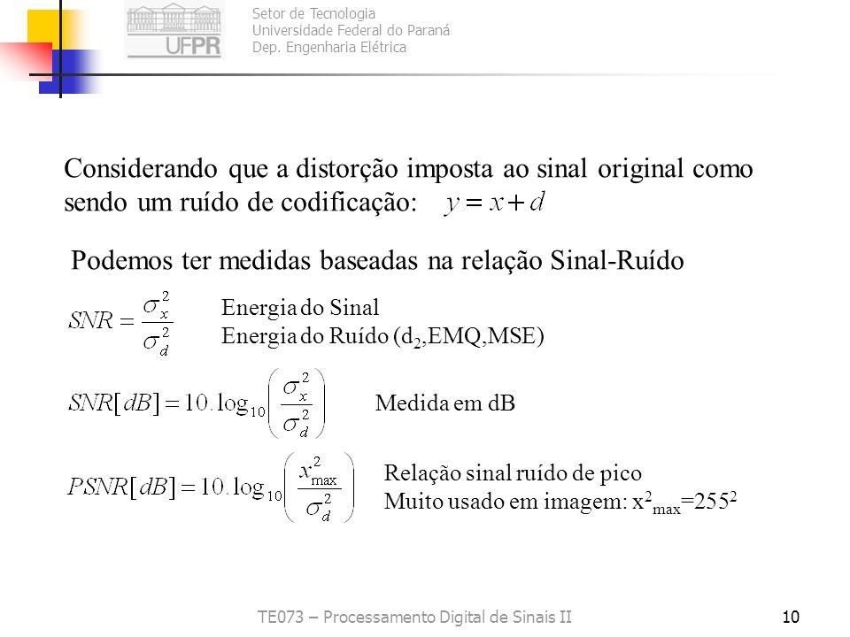 Setor de Tecnologia Universidade Federal do Paraná Dep. Engenharia Elétrica TE073 – Processamento Digital de Sinais II9 Média das diferenças absolutas