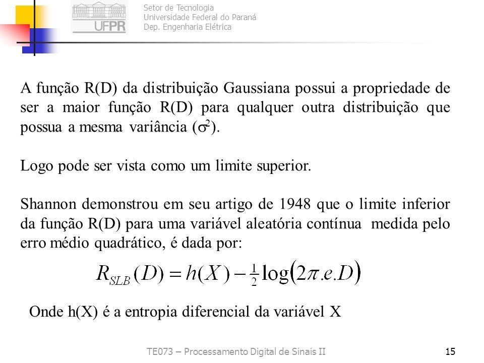 Setor de Tecnologia Universidade Federal do Paraná Dep. Engenharia Elétrica TE073 – Processamento Digital de Sinais II14 Problema: Como calcular a fun
