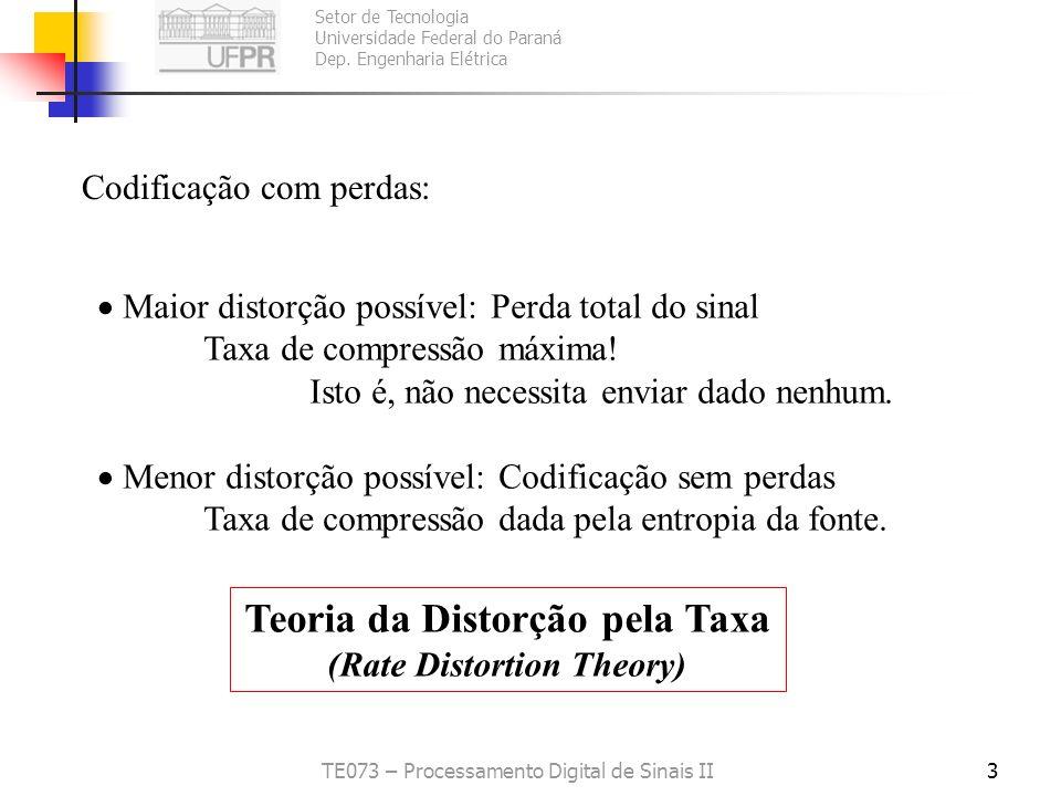 Setor de Tecnologia Universidade Federal do Paraná Dep. Engenharia Elétrica TE073 – Processamento Digital de Sinais II2 Em codificação sem perdas: Lim