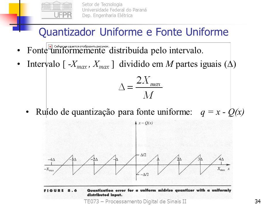 Setor de Tecnologia Universidade Federal do Paraná Dep. Engenharia Elétrica TE073 – Processamento Digital de Sinais II33 Quantizador Uniforme Interval