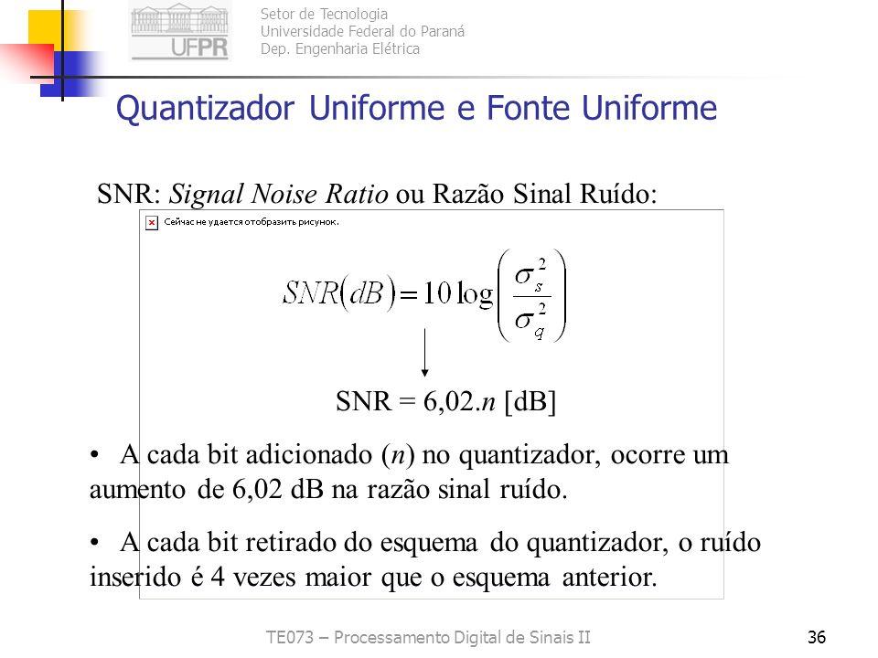 Setor de Tecnologia Universidade Federal do Paraná Dep. Engenharia Elétrica TE073 – Processamento Digital de Sinais II35 Quantizador Uniforme e Fonte