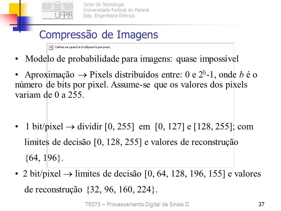 Setor de Tecnologia Universidade Federal do Paraná Dep. Engenharia Elétrica TE073 – Processamento Digital de Sinais II36 Quantizador Uniforme e Fonte