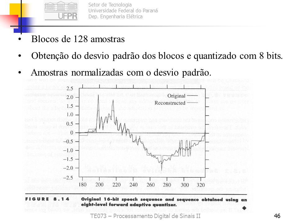 Setor de Tecnologia Universidade Federal do Paraná Dep. Engenharia Elétrica TE073 – Processamento Digital de Sinais II45 Exemplo 8.5.1: Palavra test,