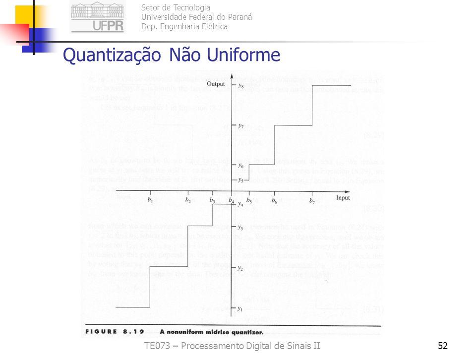 Setor de Tecnologia Universidade Federal do Paraná Dep. Engenharia Elétrica TE073 – Processamento Digital de Sinais II51 Quantização Não Uniforme meno