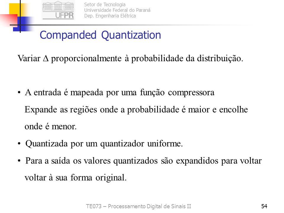 Setor de Tecnologia Universidade Federal do Paraná Dep. Engenharia Elétrica TE073 – Processamento Digital de Sinais II53 Quantização Ótima ou Lloyd-Ma