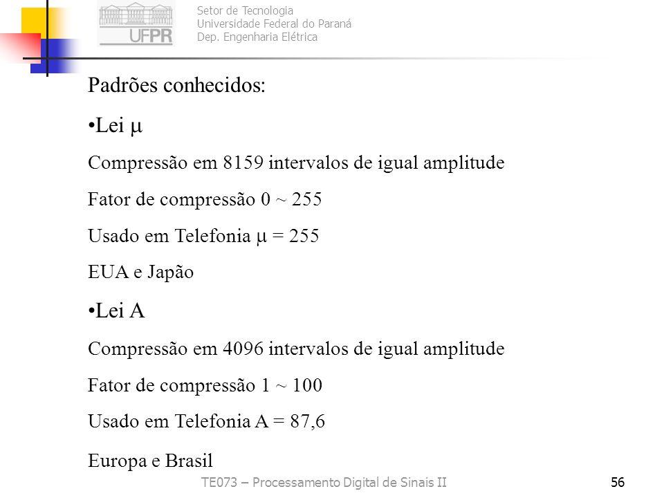 Setor de Tecnologia Universidade Federal do Paraná Dep. Engenharia Elétrica TE073 – Processamento Digital de Sinais II55 Companded Quantization Função