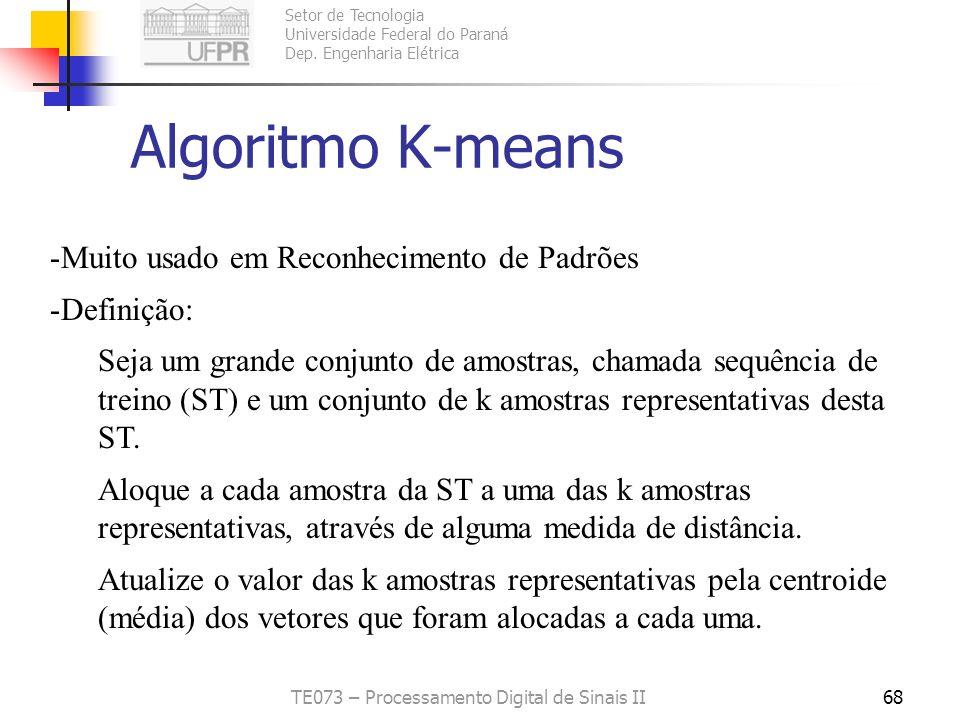 Setor de Tecnologia Universidade Federal do Paraná Dep. Engenharia Elétrica TE073 – Processamento Digital de Sinais II67 O Algoritmo Linde-Buzo-Gray (