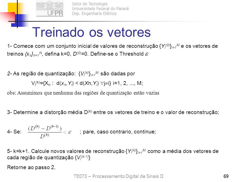 Setor de Tecnologia Universidade Federal do Paraná Dep. Engenharia Elétrica TE073 – Processamento Digital de Sinais II68 Algoritmo K-means - -Muito us