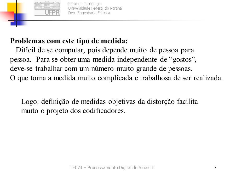 Setor de Tecnologia Universidade Federal do Paraná Dep. Engenharia Elétrica TE073 – Processamento Digital de Sinais II6 Medidas subjetivas da distorçã
