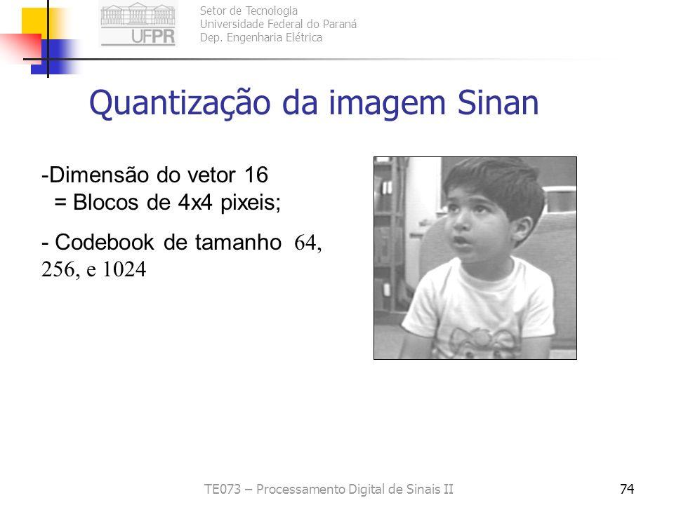 Setor de Tecnologia Universidade Federal do Paraná Dep. Engenharia Elétrica TE073 – Processamento Digital de Sinais II73 Uso do LGB na compactação de