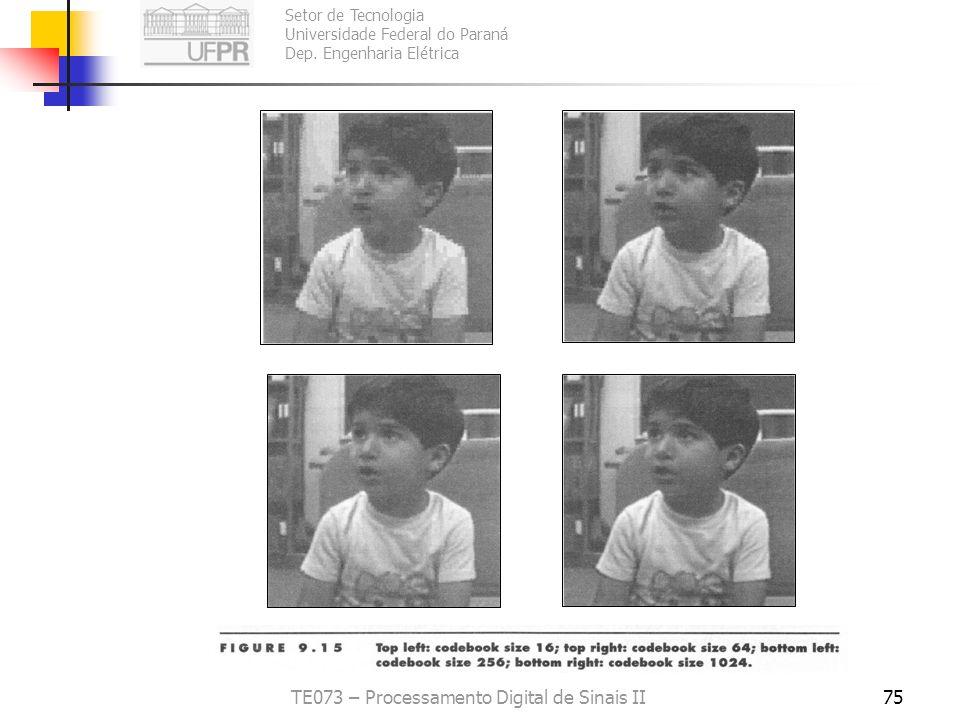 Setor de Tecnologia Universidade Federal do Paraná Dep. Engenharia Elétrica TE073 – Processamento Digital de Sinais II74 Quantização da imagem Sinan -
