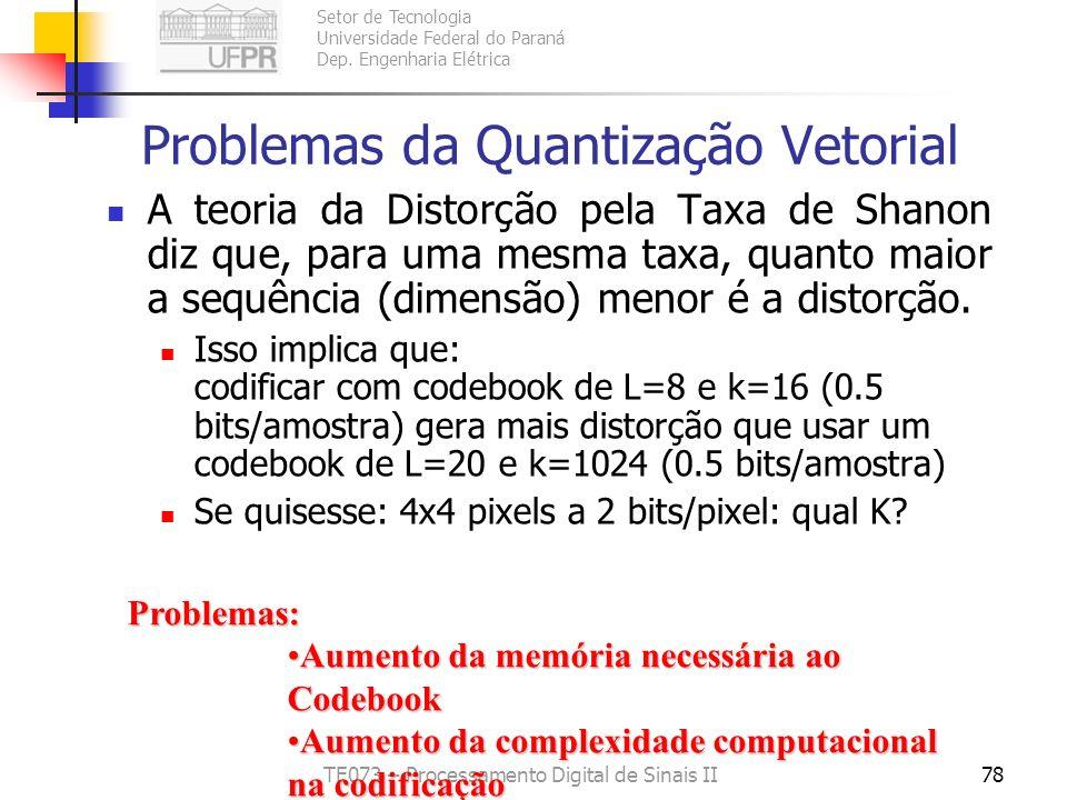 Setor de Tecnologia Universidade Federal do Paraná Dep. Engenharia Elétrica TE073 – Processamento Digital de Sinais II77 Como definir a Sequência de T