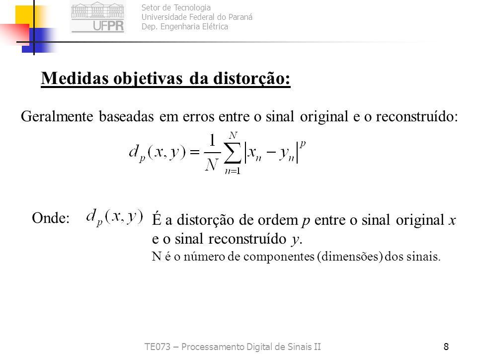 Setor de Tecnologia Universidade Federal do Paraná Dep. Engenharia Elétrica TE073 – Processamento Digital de Sinais II7 Problemas com este tipo de med