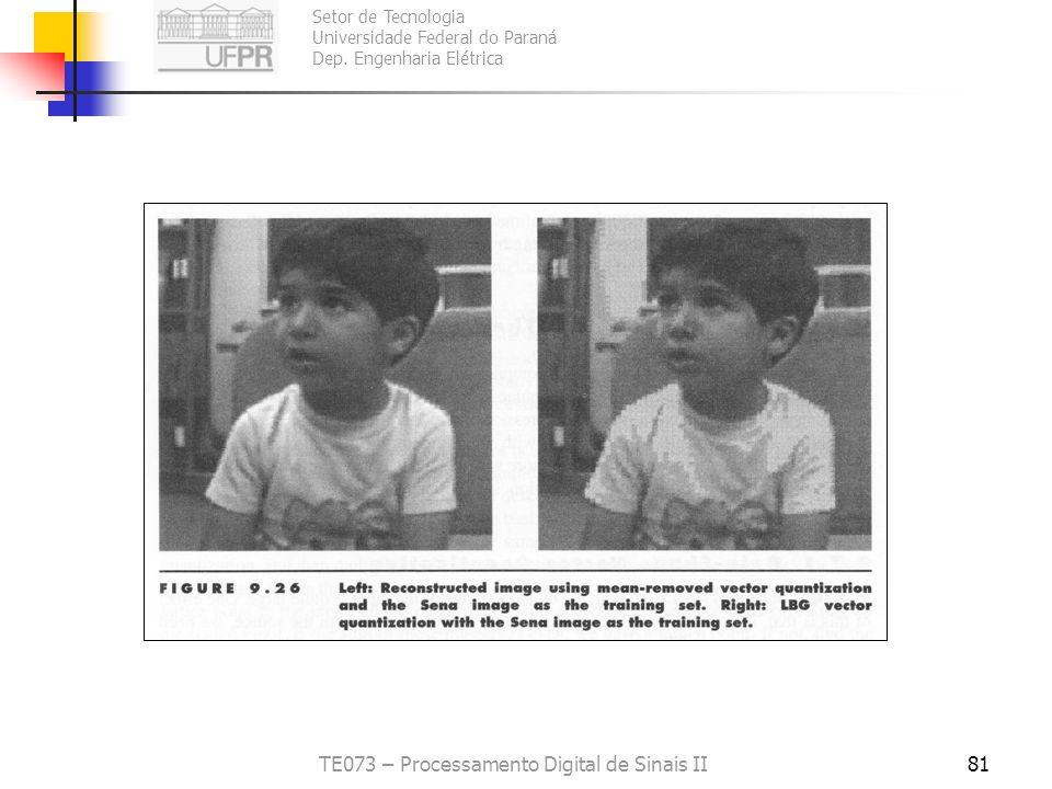Setor de Tecnologia Universidade Federal do Paraná Dep. Engenharia Elétrica TE073 – Processamento Digital de Sinais II80 Variações sobre VQ Gain-Shape